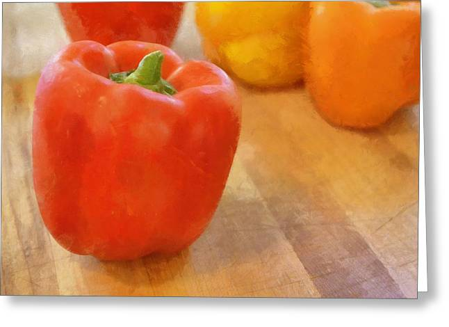 Ingredients Digital Art Greeting Cards - Tri Colored Peppers Greeting Card by Michelle Calkins