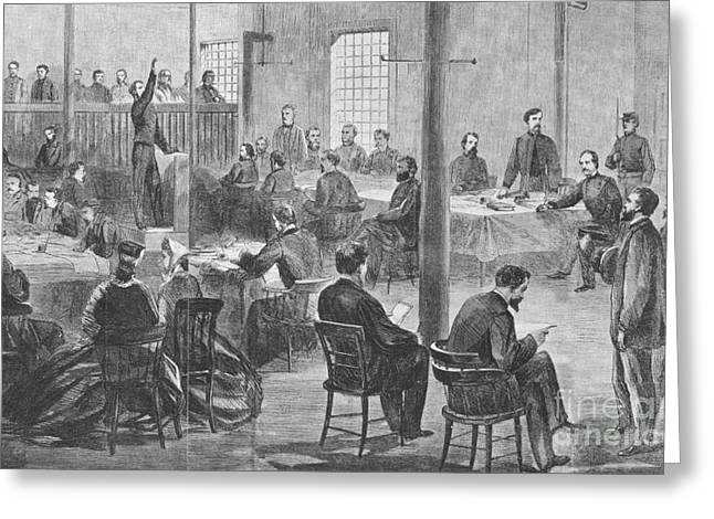 Abraham Lincoln Drawings Greeting Cards - Trial Of Lincoln Assassins, 1865 Greeting Card by Photo Researchers