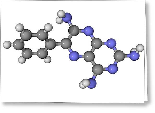 Molecular Biology Greeting Cards - Triamterene Diuretic Drug Molecule Greeting Card by Laguna Design