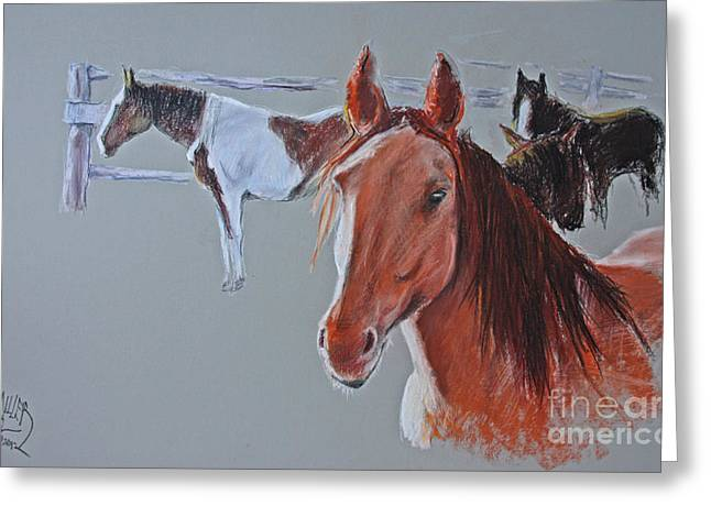 Snakes Pastels Greeting Cards - Triangle X Horses Series Number One Greeting Card by Paul Miller