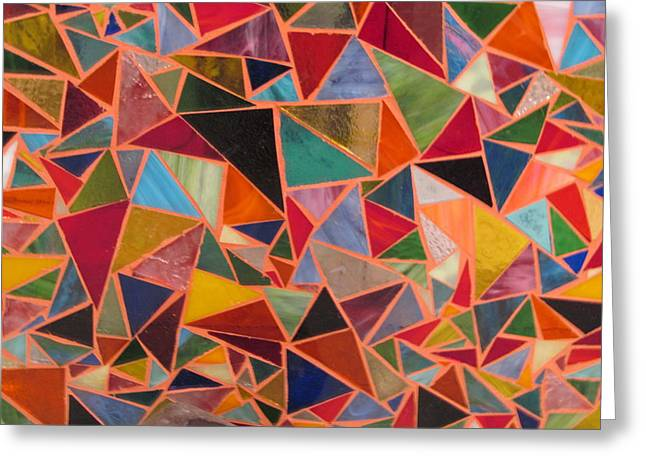 Bright Colors Glass Greeting Cards - Triangles Greeting Card by Donna Moore