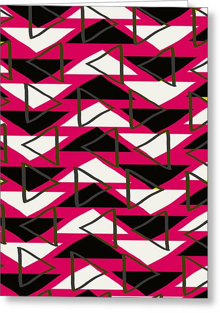 Geometric Style Greeting Cards - Triangles Greeting Card by Louisa Knight