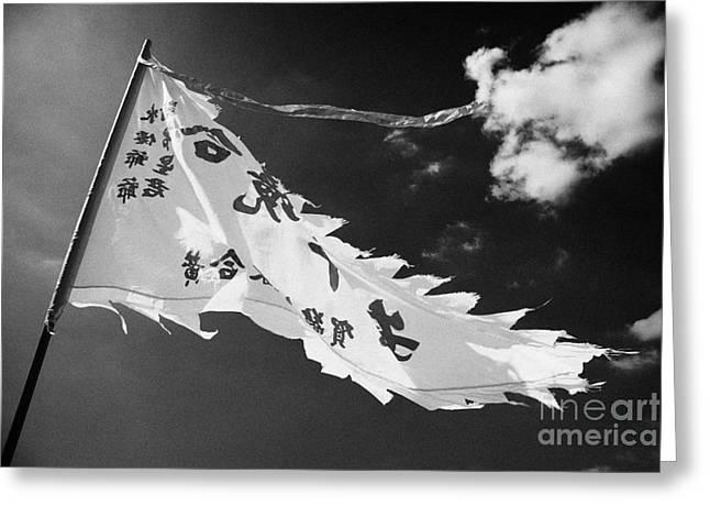 Triangular Greeting Cards - Triangular Taoist Flag Flying Outside Shui Sin Temple Stanley Hong Kong China Greeting Card by Joe Fox