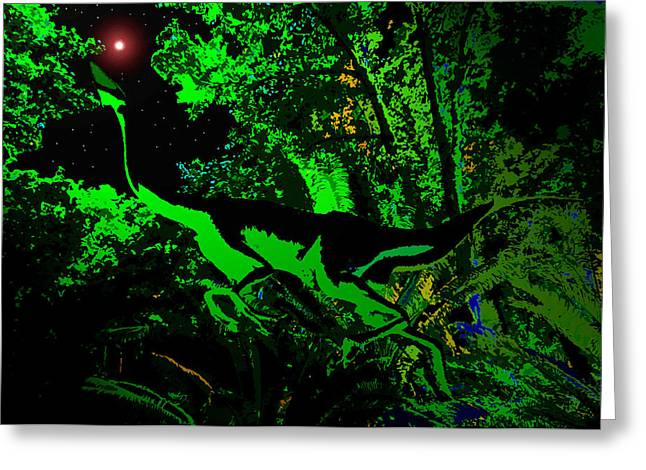 Stary Greeting Cards - Triassic night Greeting Card by David Lee Thompson