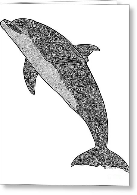 Wild Life Drawings Greeting Cards - Tribal Bottle Nose Dolphin  Greeting Card by Carol Lynne