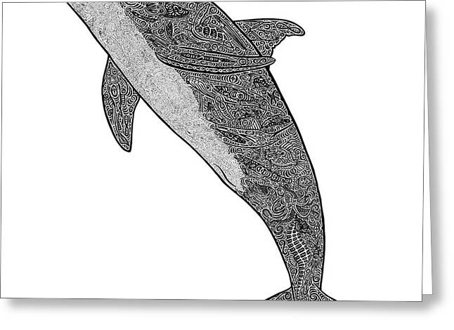 Tribal Bottle Nose Dolphin  Greeting Card by Carol Lynne
