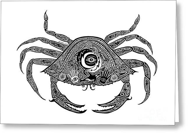 Scuba Diving Drawings Greeting Cards - Tribal Crab Greeting Card by Carol Lynne