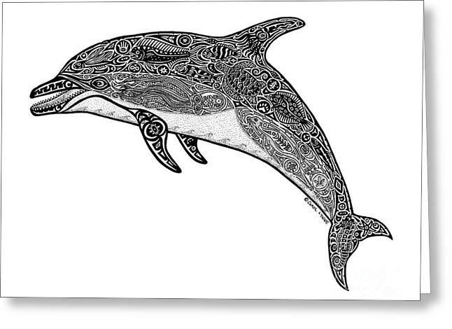 Snorkel Drawings Greeting Cards - Tribal Dolphin Greeting Card by Carol Lynne