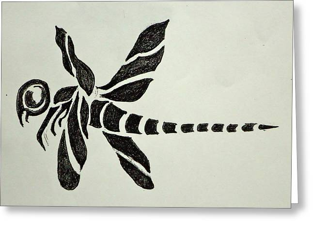 Tattoo Flash Drawings Greeting Cards - Tribal Dragonfly Greeting Card by Pete Maier