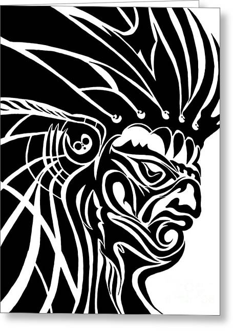 Smear Drawings Greeting Cards - Tribal Leader Greeting Card by Jack Norton