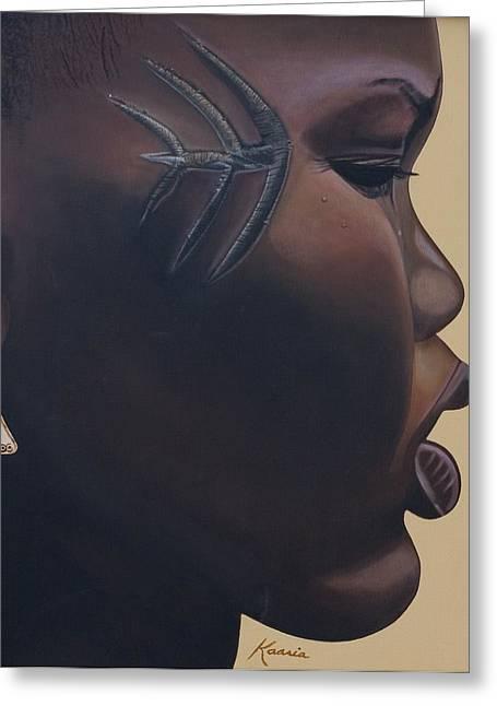 African American Artist Greeting Cards - Tribal Mark Greeting Card by Kaaria Mucherera