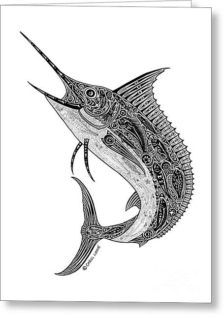 Diving Drawings Greeting Cards - Tribal Marlin Greeting Card by Carol Lynne