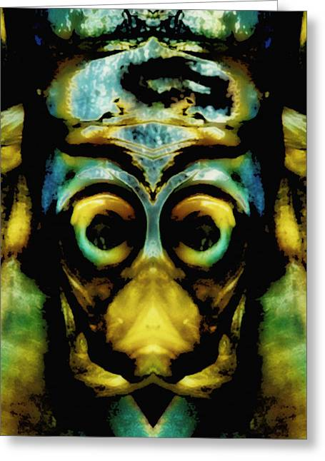 Reverence Greeting Cards - Tribal Mask Greeting Card by Skip Nall
