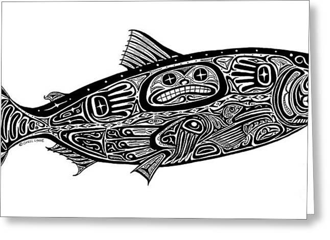 White Salmon River Greeting Cards - Tribal Salmon Greeting Card by Carol Lynne