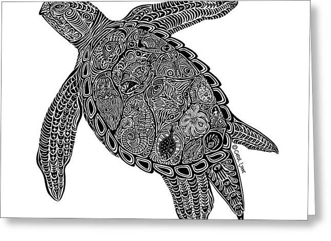 Wild Life Drawings Greeting Cards - Tribal Turtle I Greeting Card by Carol Lynne