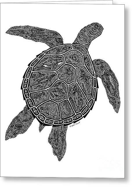Snorkel Drawings Greeting Cards - Tribal Turtle III Greeting Card by Carol Lynne