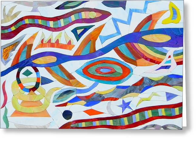 Visions Glass Art Greeting Cards - Tribal Visions Greeting Card by Charles McDonell