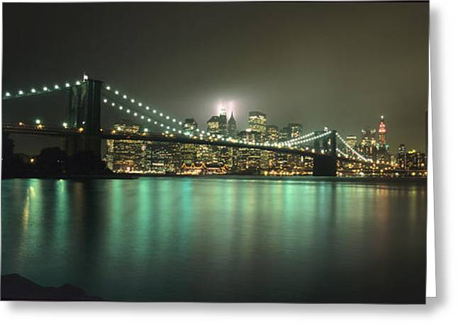 Tribute In Light, Lower Manhattan On Greeting Card by Axiom Photographic