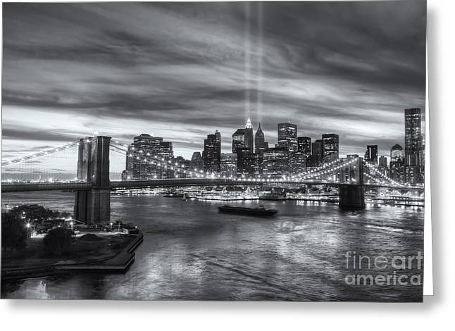 Reflections Of Sky In Water Greeting Cards - Tribute in Light V Greeting Card by Clarence Holmes