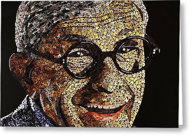 Mosaic Portraits Mixed Media Greeting Cards - Tribute To George Burns Greeting Card by Doug Powell