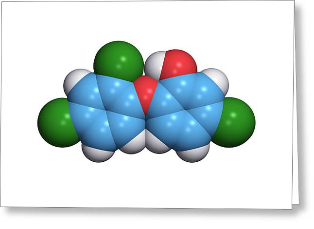 Microbiological Greeting Cards - Triclosan Antibiotic Drug Molecule Greeting Card by Dr Tim Evans
