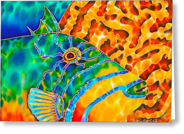 Reef Fish Greeting Cards - Trigger and Brain Coral Greeting Card by Daniel Jean-Baptiste