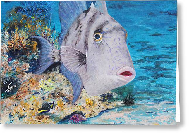 Triggerfish Paintings Greeting Cards - Trigger Happy Greeting Card by Charlotte Curran