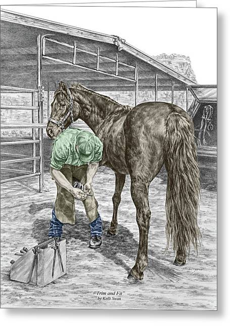 Farrier Greeting Cards - Trim and Fit - Farrier and Horse Print Color Tinted Greeting Card by Kelli Swan