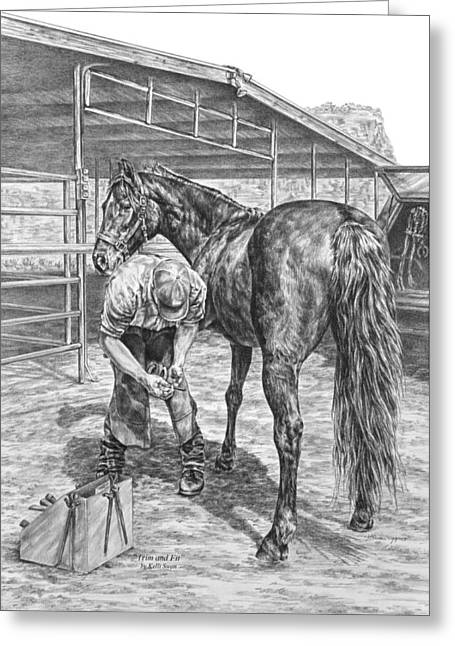Farrier Greeting Cards - Trim and Fit - Farrier with Horse Art Print Greeting Card by Kelli Swan
