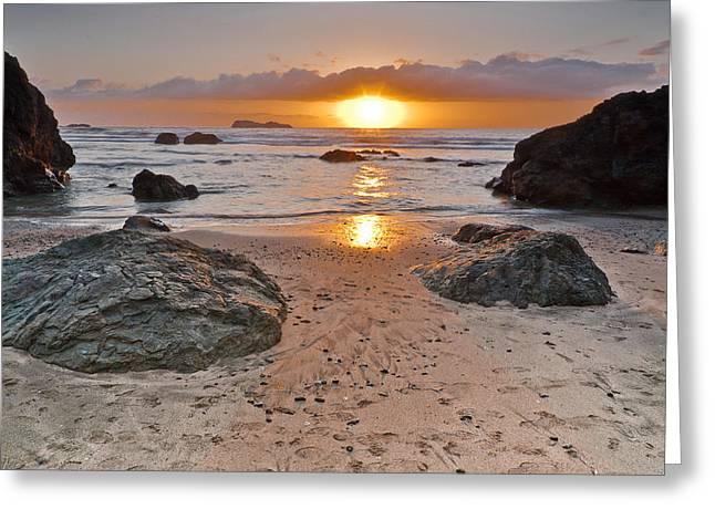 Trinidad Beach Sunset Greeting Cards - Trinidad State Beach Sunset Greeting Card by Greg Nyquist