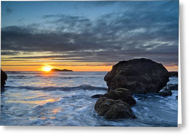 Trinidad Beach Sunset Greeting Cards - Trinidad Sunset in Autumn Greeting Card by Greg Nyquist