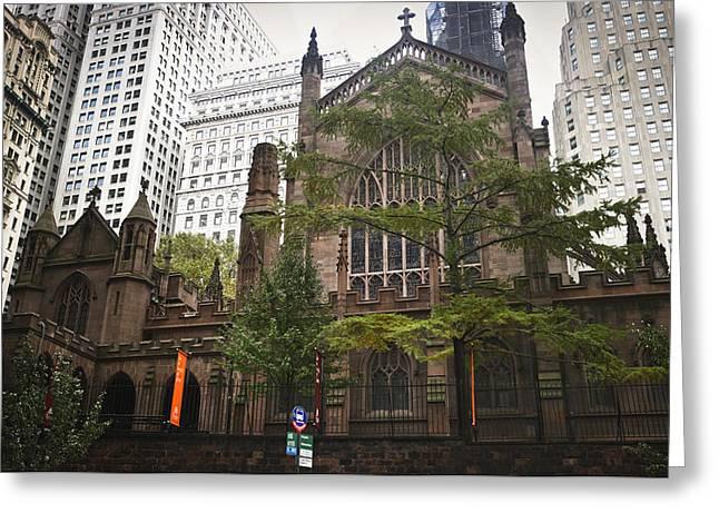 Occupy Wall Street Greeting Cards - Trinity Church Rear View Greeting Card by Teresa Mucha