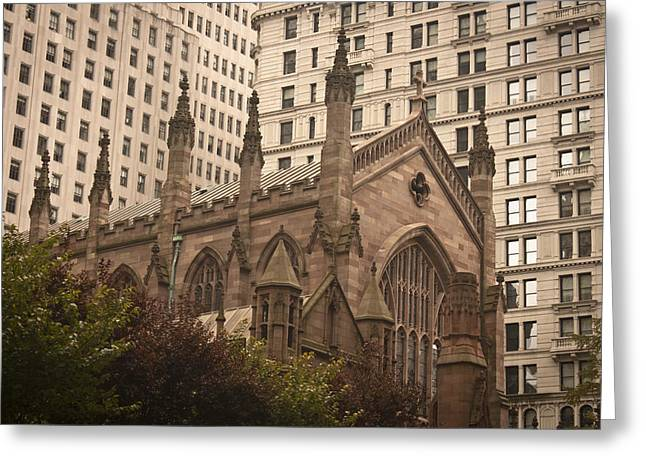 Occupy Photographs Greeting Cards - Trinity Church Greeting Card by Teresa Mucha