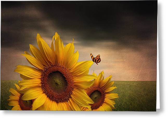 Sunflower Art Greeting Cards - Trinity Greeting Card by Lourry Legarde