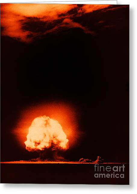 Del Muerto Greeting Cards - Trinity Test Explosion, 1945 Greeting Card by Los Alamos National Laboratory