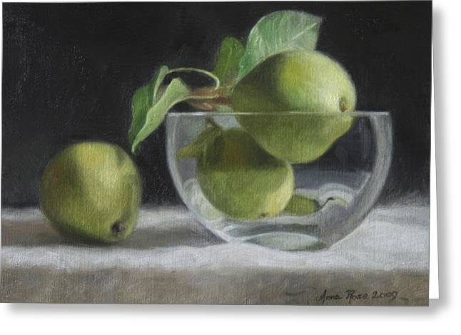 Bowls Greeting Cards - Trio of Pears Greeting Card by Anna Bain