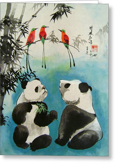 Naivety Greeting Cards - Trio Orchestra Greeting Card by Lian Zhen