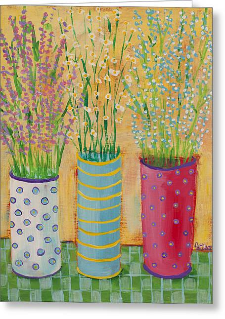 Vase Of Flowers Pastels Greeting Cards - Trio Greeting Card by Pat Olson