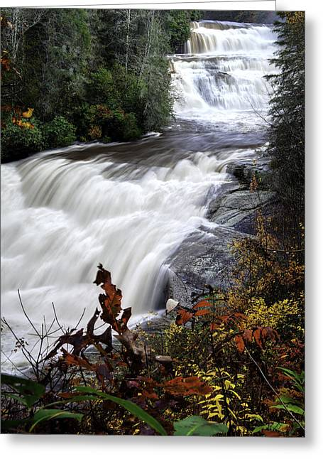 Fall Photographs Greeting Cards - Triple Falls  - NC Autumn Outdoors Greeting Card by Rob Travis
