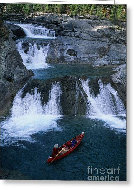 Alberta Foothills Landscape Greeting Cards - Triple Falls Greeting Card by Bob Christopher