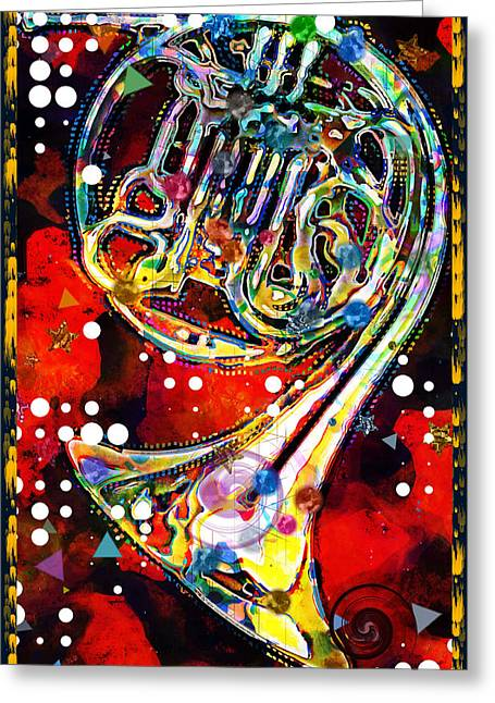 Triple Greeting Cards - Triple Horn Abstract Greeting Card by David G Paul