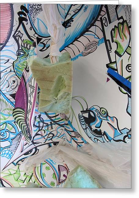 Alien Sculptures Greeting Cards -  Abstract Line Expressive Continuim Greeting Card by Casey P