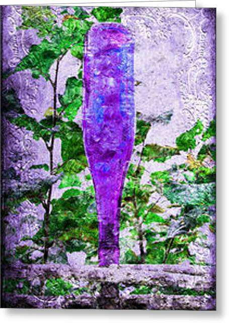 Glass Garden Greeting Cards - Triptych Cobalt Blue Purple And Magenta Bottles Triptych Vertical Greeting Card by Andee Design