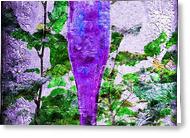Triptych Cobalt Blue Purple And Magenta Bottles Triptych Vertical Greeting Card by Andee Design