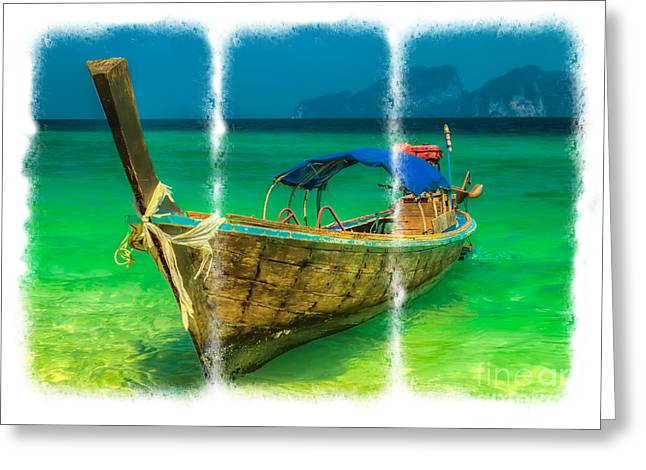 Asia Digital Greeting Cards - Triptych Longboat Greeting Card by Adrian Evans