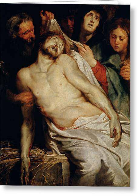 Mourner Greeting Cards - Triptych of Christ on the Straw Greeting Card by Rubens