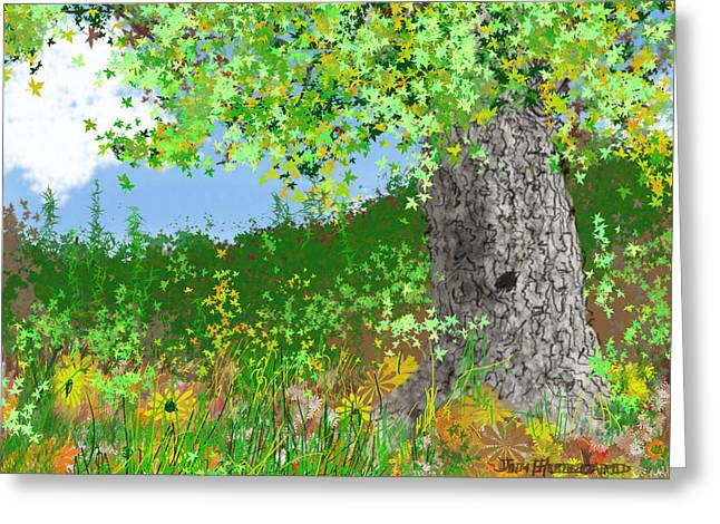 Summer Scene Drawings Greeting Cards - Triptych-Summer Greeting Card by Jim Hubbard