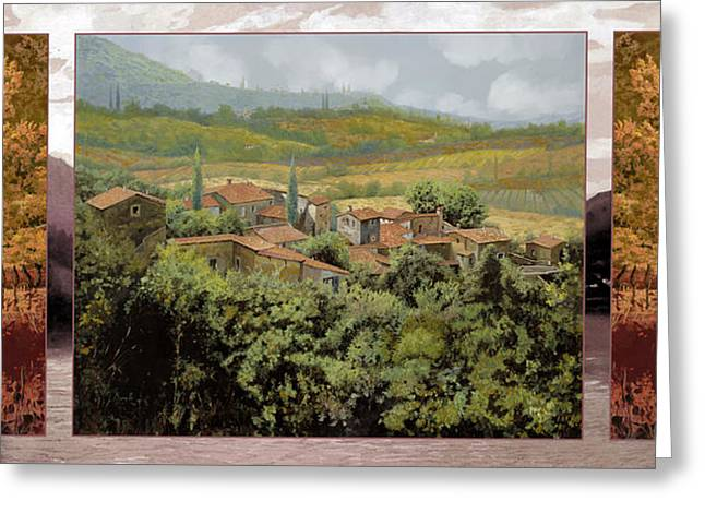 Chianti Paintings Greeting Cards - TRITTICO-il prossimo autunno Greeting Card by Guido Borelli