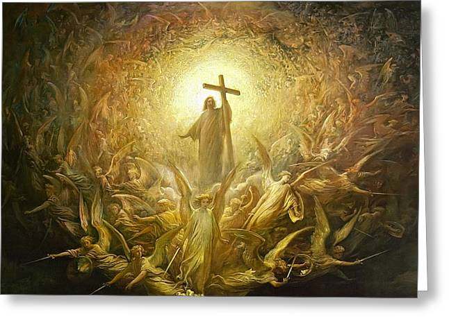Dore Greeting Cards - Triumph of Christianity Detail Greeting Card by Gustave Dore