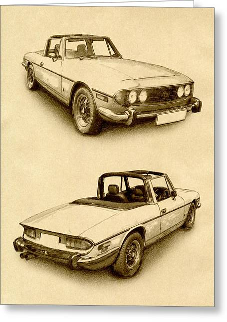 Stag Greeting Cards - Triumph Stag Greeting Card by Michael Tompsett